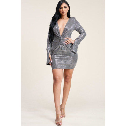 Silver Metallic Trans Bell Sleeve Short Dress - Dress