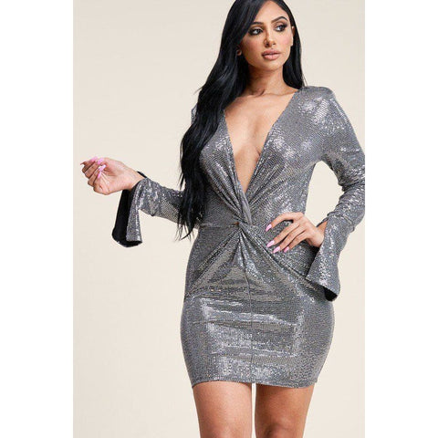 Silver Metallic Trans Bell Sleeve Short Dress - S - Dress