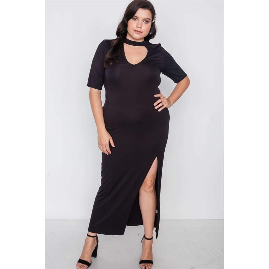 Site Slit Mock Neck Black Maxi Dress (Curvy Sizes Only) - 1XL - Dress