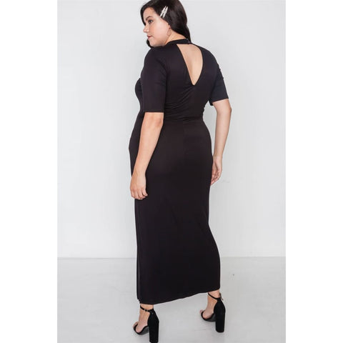 Site Slit Mock Neck Black Maxi Dress (Curvy Sizes Only) - Dress