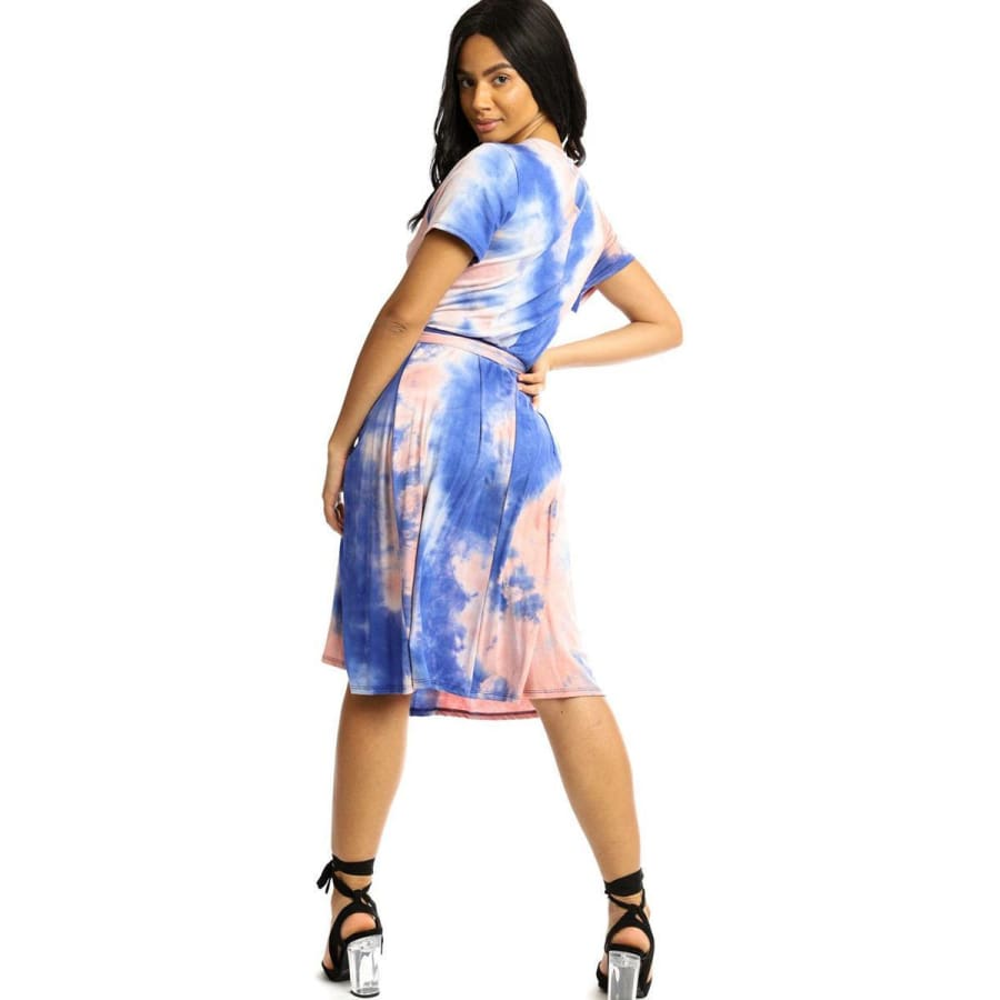 Wrapped Style Royal Blue Midi Dress - Dress