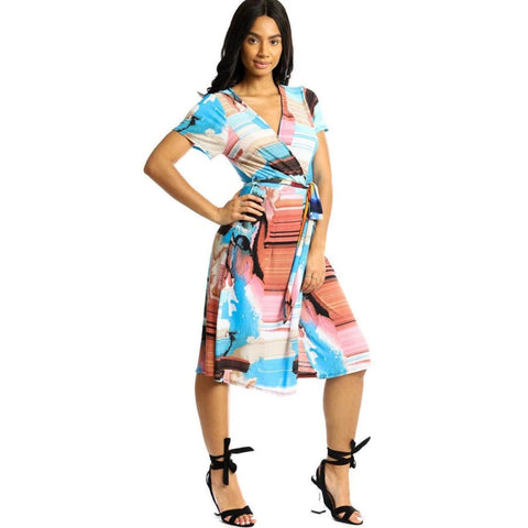 Wrapped Style Sky Blue/Pink Midi Dress - S - Dress
