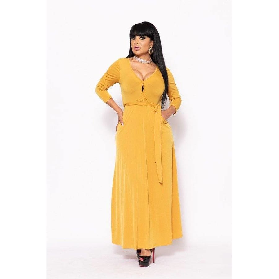 Yellow Elegant Maxi Dress w/Waist Tie - S - Dress