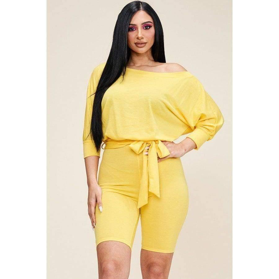 Yellow Slouchy Solid French Terry Romper - Distinctive Woman