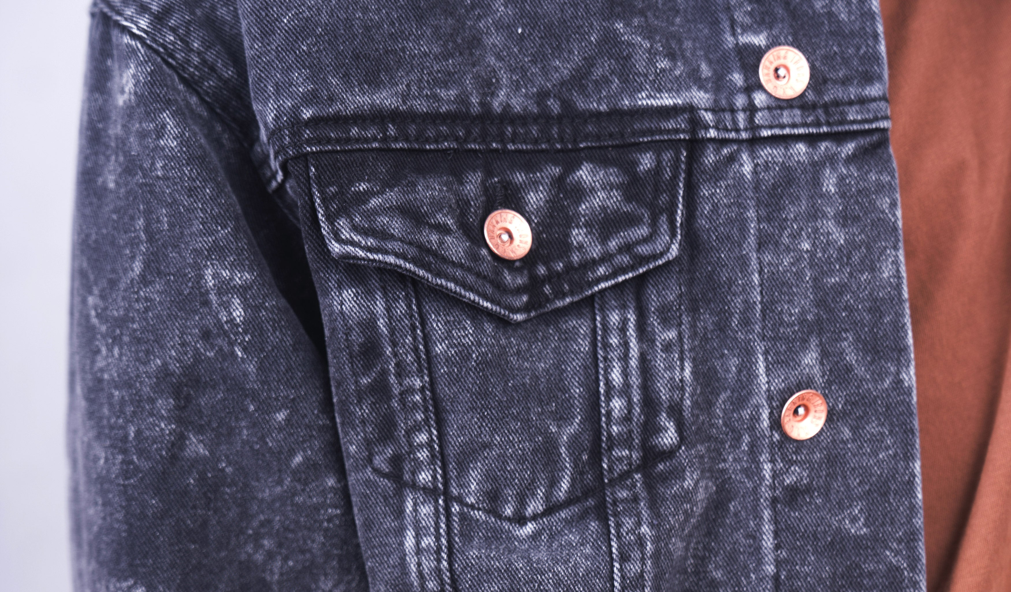 Rocker Back Denim Jacket (Black Acid Wash)