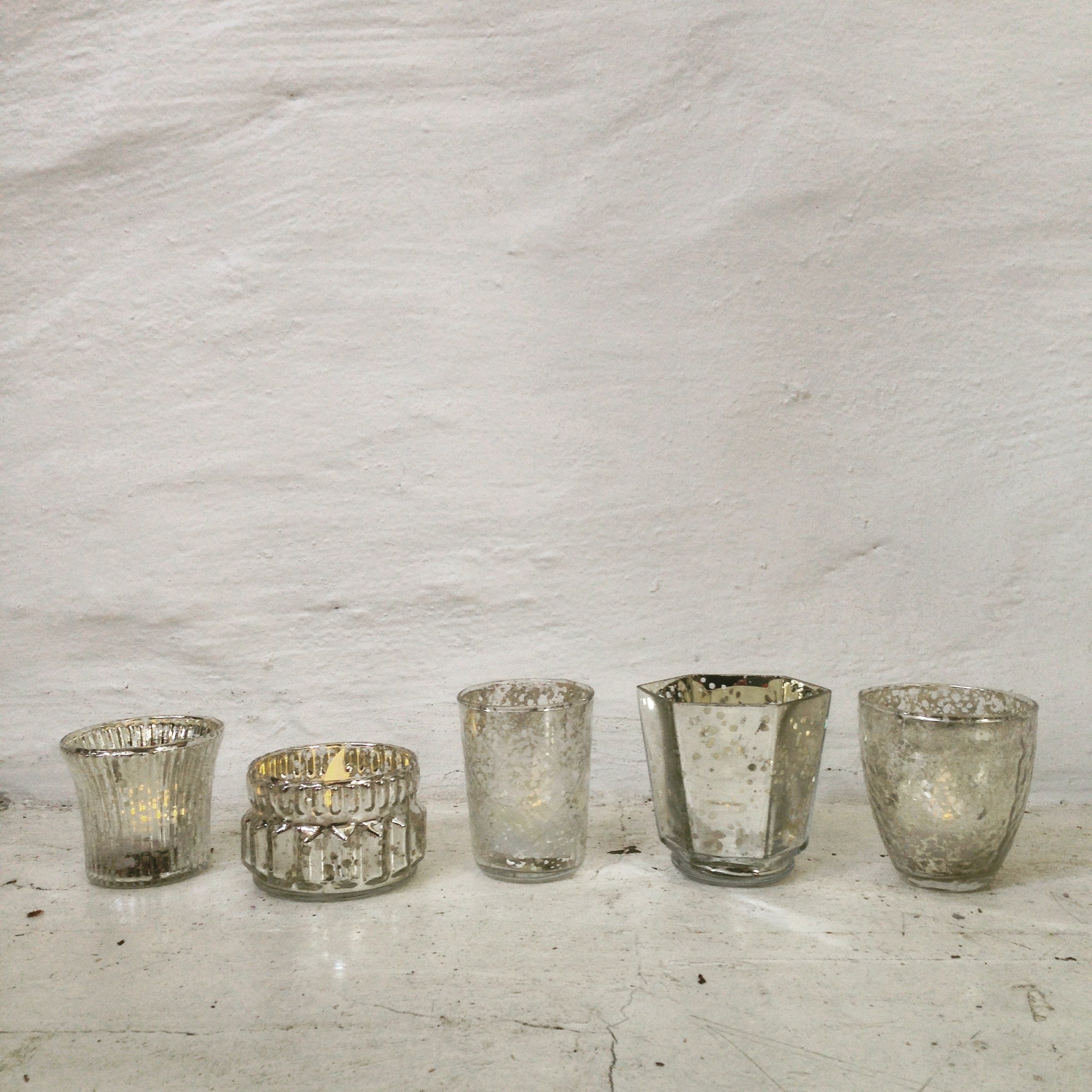 Votive - Vintage Glass - Silver