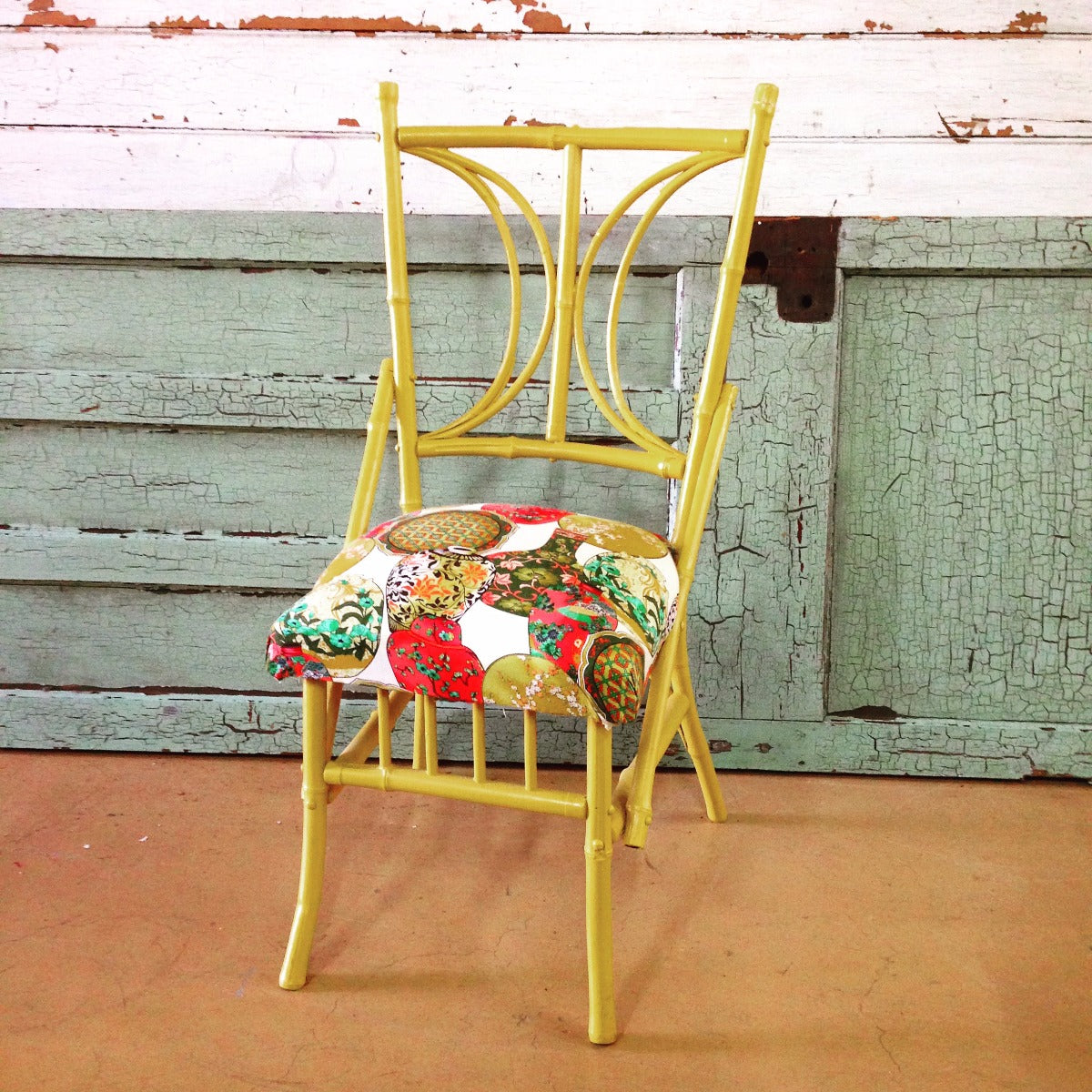 Cane Chair – mustard with Asian upholstery