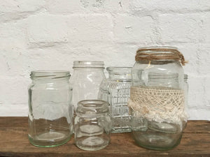 Jar - Clear - Hessian/Ribbon