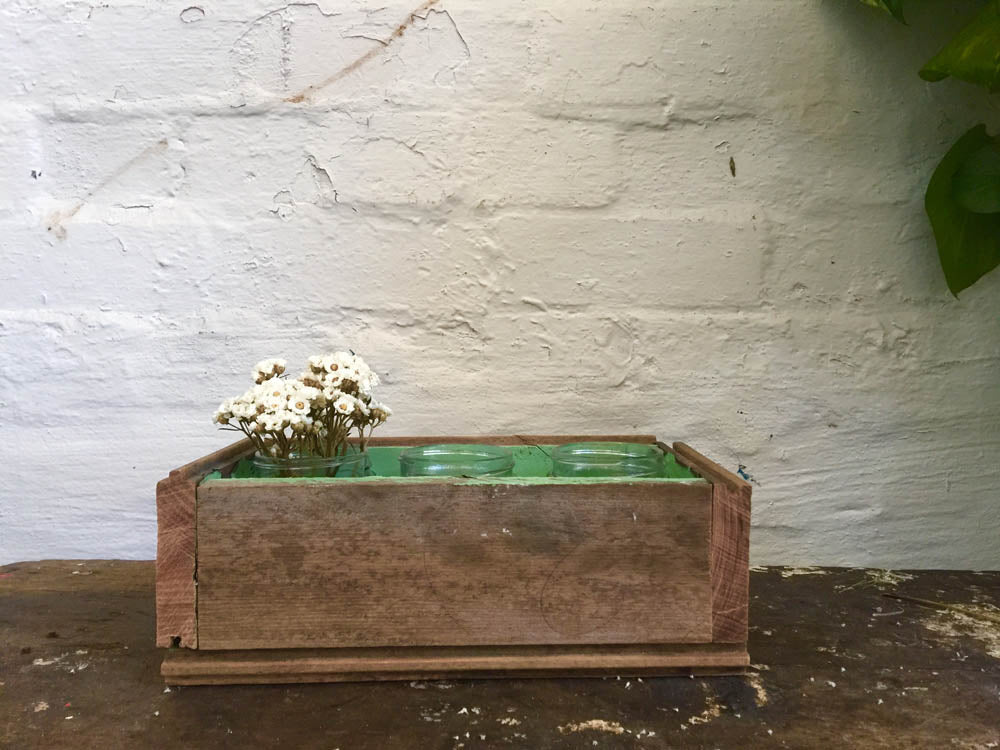 Recycled Timber Flower Box with Jars
