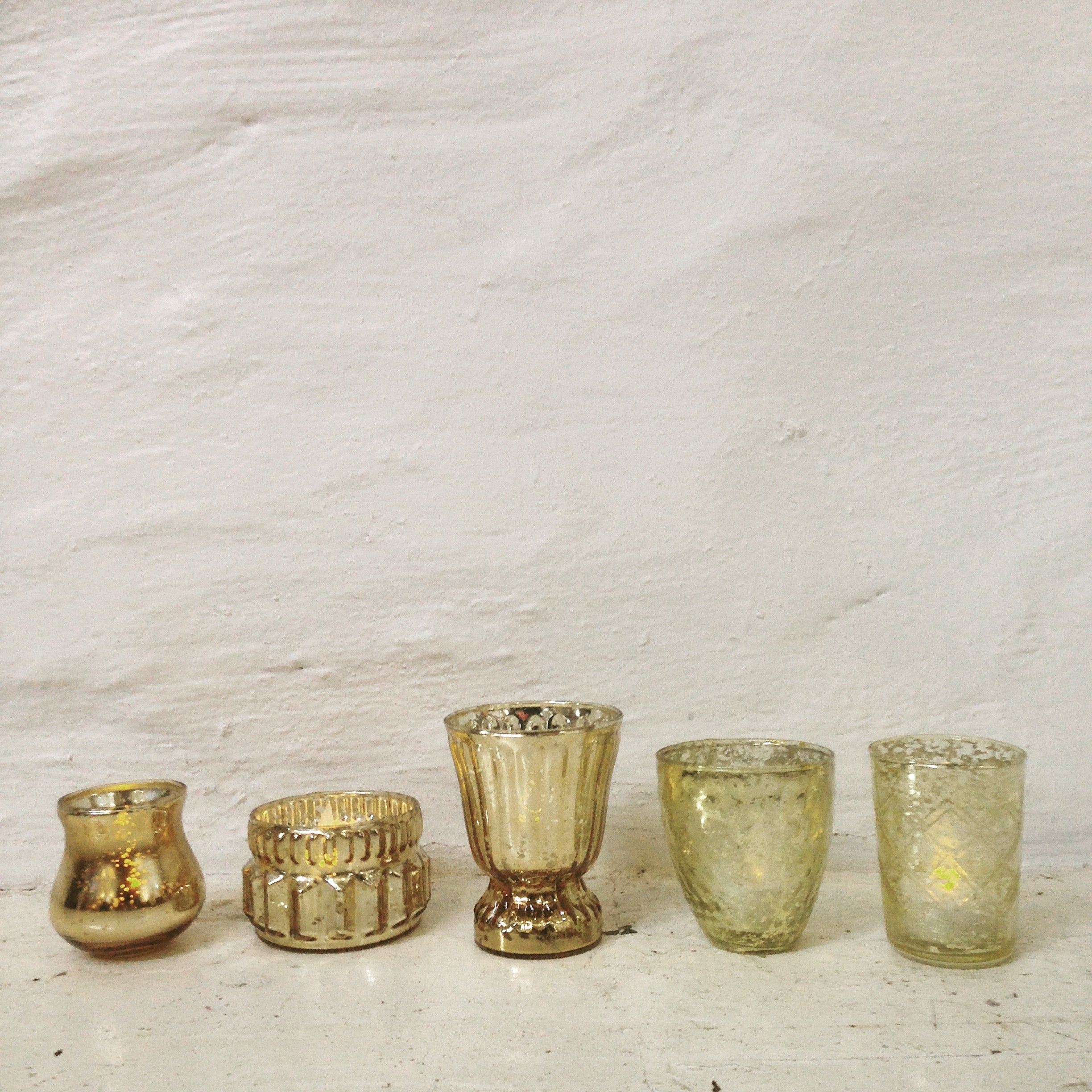 Votive - vintage glass - gold