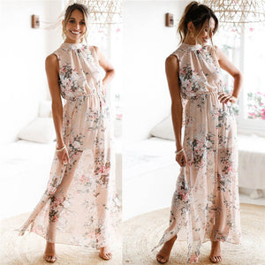 d36c6ffdec 2018 HOT sell Dress summer beach dress Women Chiffon Floral Print  Sleeveless Backless Casual Boho Beach
