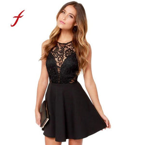 ecc79d0712 FEITONG Women s dress 2018 Summer Casual Backless Prom Cocktail Lace Short  Mini Dress Sexy Sleeveless Party