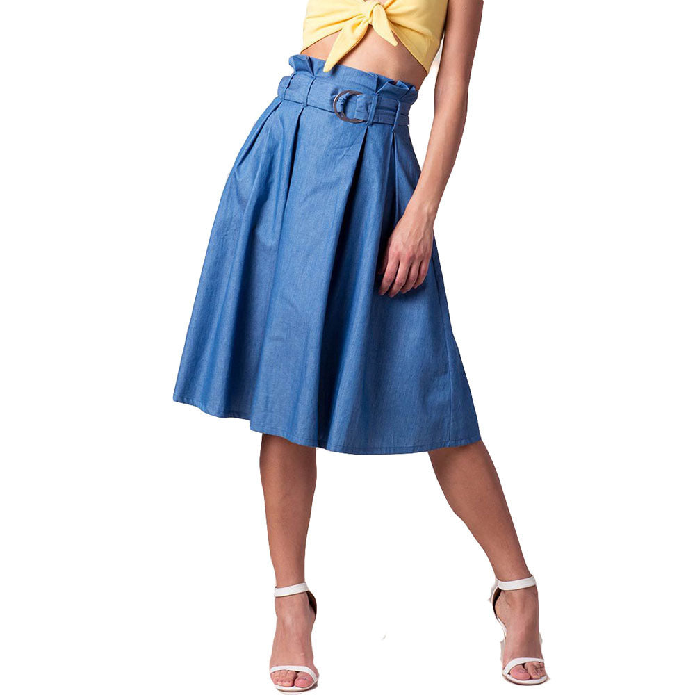 d4c7ab1a8f66 ... Fashion A-line Knee Length Denim Skirt Women With Belt High Waist Midi  Skirt Female ...