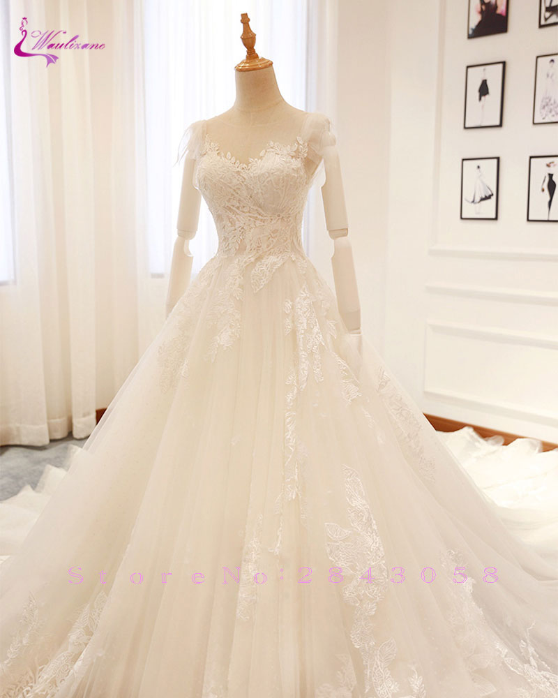0100d70e0f3a7 Waulizane Elegant Tulle V-Neck A-Line Wedding Dresses Embroidery Appliques  Lace Sleeveless Lace Up Floral Print Bride Dress