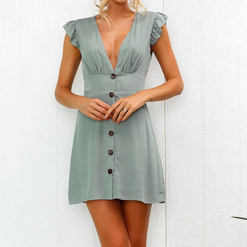 89807b2f41f0 ... Womens Summer Dress Sexy V Neck Buttons Front Solid Party Dress Ruffles  Sleeve Beach Dresses Robe ...