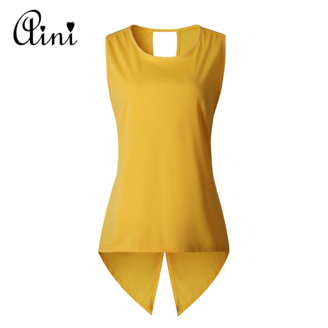 fe9848c17dc06 ... Womens Tops and Blouses Sleeveless Ladies Top Female Cross Irregular  O-Neck Woman Blouse Shirt ...