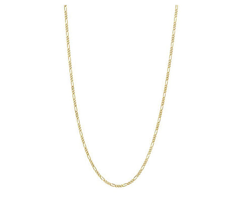 Solid 14k Yellow Gold Figaro Chain Necklace