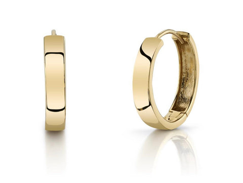 Large Flat Gold Hoops Solid 14k Yellow Gold