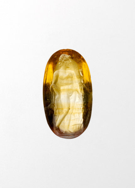 Photo courtesy of the Met Museum, 1st century BCE-3rd century CE Roman Topaz ring stone engraved with Hermes.