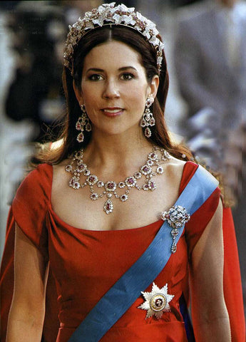 Mary Elizabeth Donaldson at her wedding in the Danish Ruby and Diamond Crown Parure