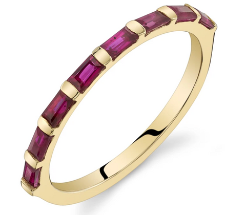 14k Yellow Gold and Emerald Cut Ruby Baguette Ring