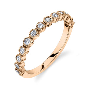 Bead Set Ring White Diamond / 14K Rose Gold
