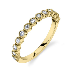 Bead Set Ring White Diamond / 14K Yellow Gold