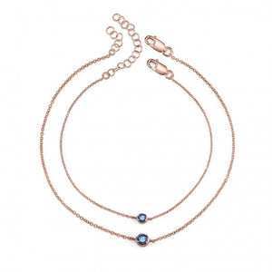 blue sapphire, rose gold