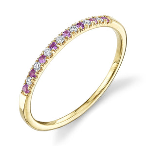 yellow gold, white diamond, pink sapphire
