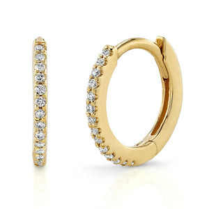 Small Pave Hoop White Diamond / 14K Yellow Gold Pair