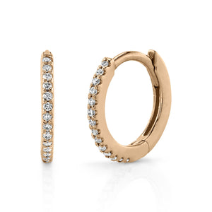 Small Pave Hoop White Diamond / 14K Rose Gold Pair