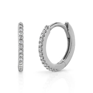 Small Pave Hoop White Diamond / 14K Gold Pair