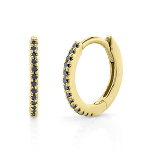 Small Pave Hoop Black Diamond / 14K Yellow Gold Pair