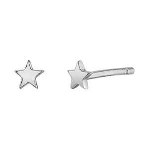 Mini Star Stud Earrings White Gold / Pair