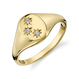 THREE STAR SIGNET RING