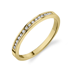 Channel Set Ring White Diamond / 14K Yellow Gold