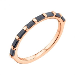 Lulu Baguette Ring Black Diamond / Rose Gold