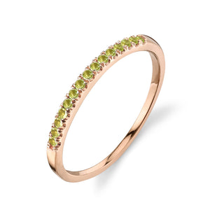 Colette Thin Pavé Band Peridot / 14K Rose Gold