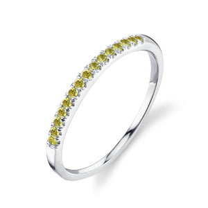 Colette Thin Pavé Band Peridot / 14K White Gold
