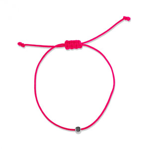 black diamond, white gold, pink cord
