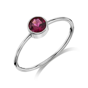 Large Olive Ring Tourmaline / 14K White Gold
