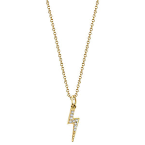 Lightning Bolt Charm 14K Yellow Gold / No Chain White Diamond