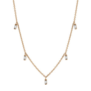 Lulu Baguette Necklace 14K Rose Gold / White Diamond 16In