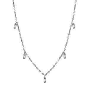 Lulu Baguette Necklace 14K White Gold / Diamond 16In