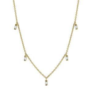 Lulu Baguette Necklace 14K Yellow Gold / White Diamond 16In