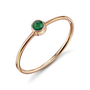 Olive Bezel Ring Emerald / Rose Gold