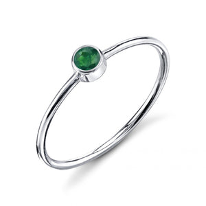 Olive Bezel Ring Emerald / White Gold