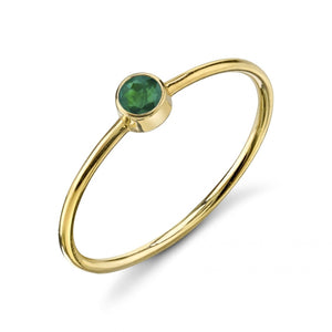 Olive Bezel Ring Emerald / Yellow Gold