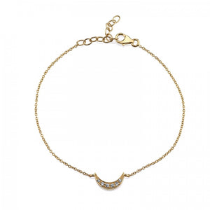 Pavé Moon Bracelet White Diamond / Yellow Gold Baby (4-5In)