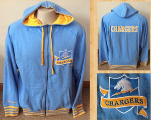Adults L Mitchell & Ness Chargers Zip - Up Hoodie